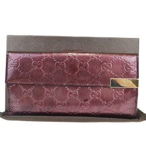 Gucci GG Pattern Round Fastener Leather Wallet Bor